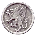 Rampant Dragon Pewter Brooch 116.0604