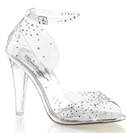 Clear Closed Back Ankle Strap Sandals With Rhinestones