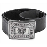 Leather Belt with Antique Thistle and Celtic Knot Buckle 50-101