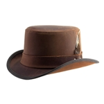 Short Brim Leather Hat in Pecan