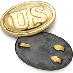 US Civil War Belt Buckle Oval - Polished Brass