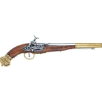 19th Century (Russian) Flintlock Pistol Brass Finish - Non-Firing Replica