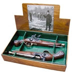Colonial British Dueling Flintlock Boxed Set Non-Firing Replica,English Flintlock Pistol 18th Century - Non-Firing FD1196L