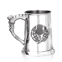 Embossed Thistle Pewter Tankard One Pint SG100