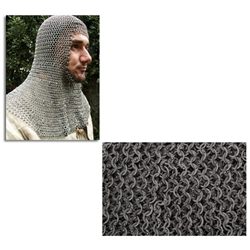 Chainmail Coif Flat Ring Dome Riveted Code 4 AB2552