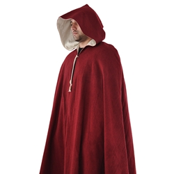 Medieval Cloak in Burgundy Wool Winter Cape