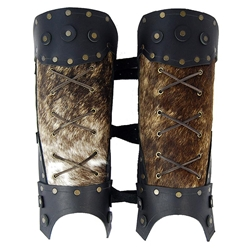 Barbarian Leather Greaves - Black